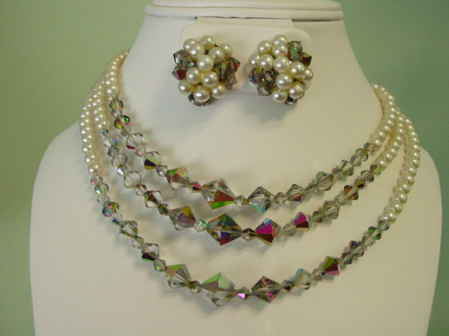Multi 3 Strand Aurora Borealis & Faux Pearl Necklace & Earring Demi Parure