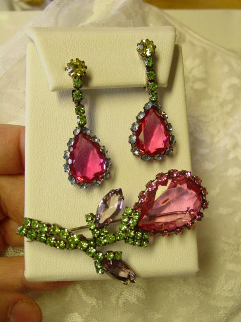 Juliana Huge Pink Glass Stone & Blue Green Purple Rhinestone  Parure