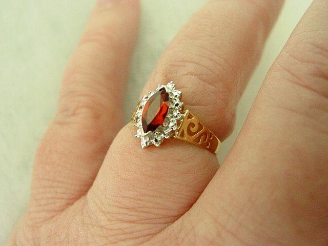 10K Yellow Gold & White Gold Marquise Cut Garnet Ring