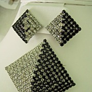 Black and White Rhinestone Pendant Brooch w Earring Pyramid Shape Parure