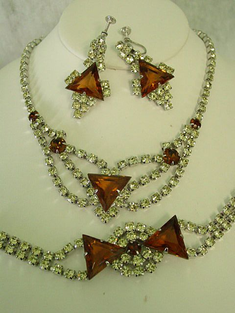 Huge Kite Shape Brown Rhinestone w Yellow Rhinestone Parure