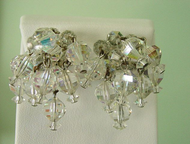 Multi Bunch Glass Crystal Balls Dangle Earrings