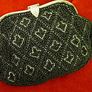 Small Made IN France Purse Black Beaded w Rhinestone Clasp & Fancy Frame