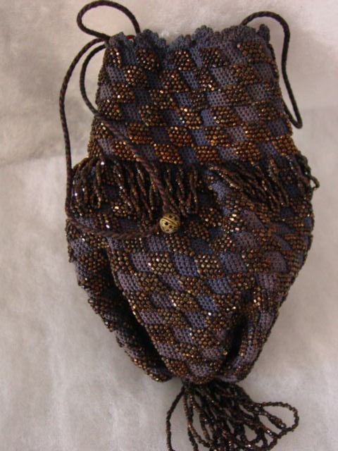 Dark Blue Knitted w Black & Copper Color Glass Beads Reticule Purse