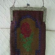 Dynamic Art Nouveau Large Purse w Micro Glass Beaded Rose Design w  Beautiful Ornate Frame