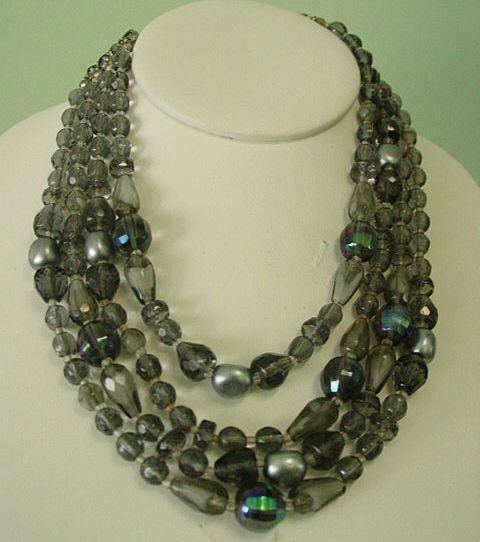 Multi Strand Gray & Black w Aurora Borealis Crystal Necklace