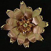 Huge Layered Flower Petal Rhinestone Brooch Pin