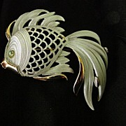 Lisa Signed Large Fish Pendant Brooch Pin.