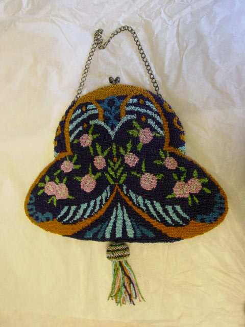 Antique Large Micro Bead Art Nouveau Purse