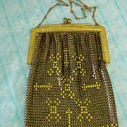 Black & Yellow Enamel Mesh Metal Purse