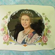 1977 Queen Elizabeth II Staffordshire Commemorative Silver Jubilee Trinket Box w Lid