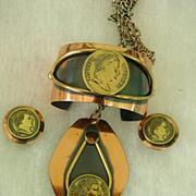 Napoleon Empereur Copper Parure w Wide Cuff Bracelet