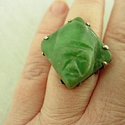 Huge Green Onyx Mayan Aztec Mask Sterling Silver Mexico Ring