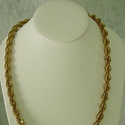 Thick Gold Tone Metal Twisted Rope Necklace