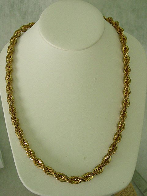 rope yellow necklace brand bhp chain gold chains size ebay twisted new twist link