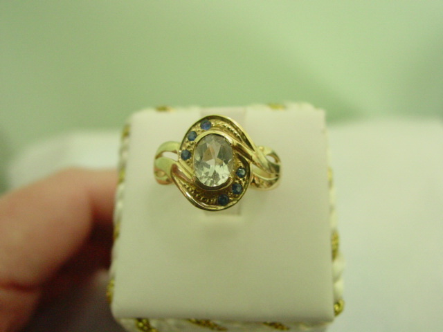 10KT YG White Topaz and Blue Sapphire Ring