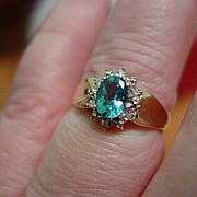 10KT YG Blue Topaz and Diamond Ring