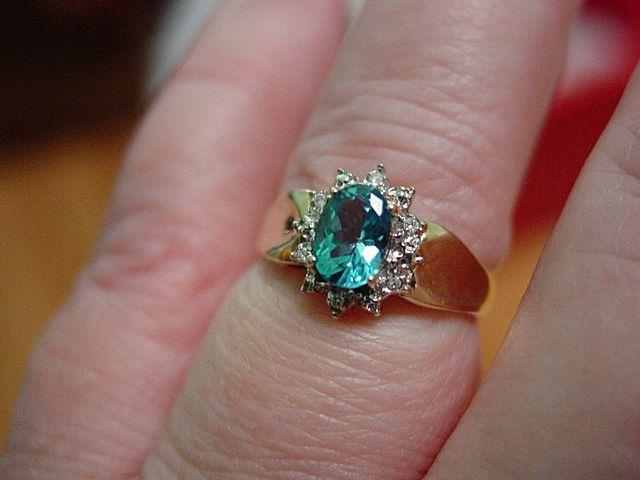 10KT YG Blue Topaz and Diamond Ring