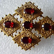 Victorian Style 12K Gold Filled 6 Garnet Brooch Van Dell
