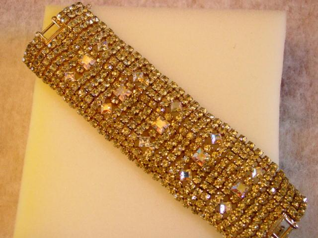 Huge 12 Rows Superwide Bracelet Yellow Color Rhinestone & Aurora Borealis