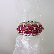 14KT Yellow Gold Natural Ruby & Diamond Band Ring