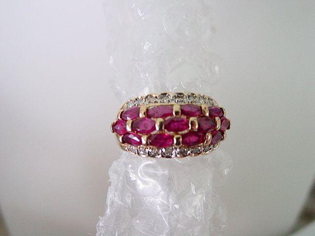 14KT Yellow Gold Natural Ruby & Diamond Band Ring