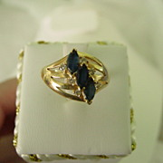 Vintage 14K YG Dark Blue Sapphires & Diamond Ring