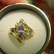 14Kt YG Marquis Tanzanite & Diamond Ring