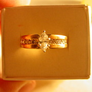18KT YG Marquise Diamond Engagement Ring