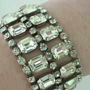 Weiss Rhinestone Wide Bracelet 7 Rows