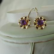 14KT YG Amethyst Victorian Revival Pierce Earrings