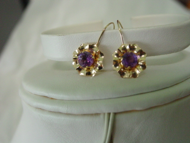 14KT YG Amethyst Victorian Revival Pierce Earrings