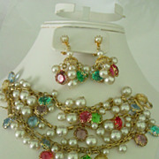 Multi Beaded 5 Strand Dangle Bracelet and Earrings Demi Parure