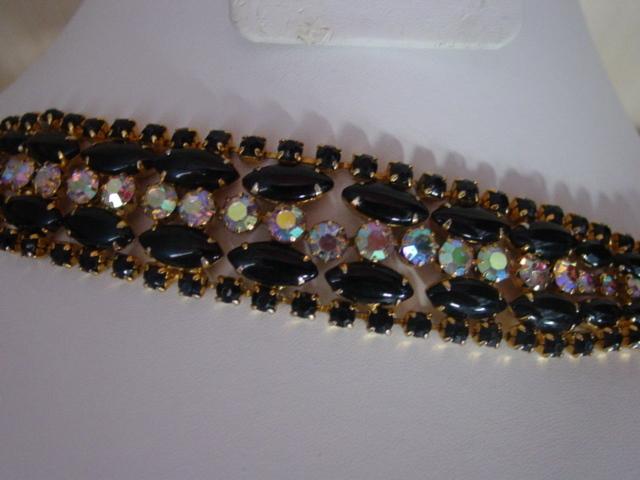 Black & Aurora Borealis Rhinestone Bracelet