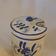 Vintage Blue and White Ceramic Mustard Jar Made in France