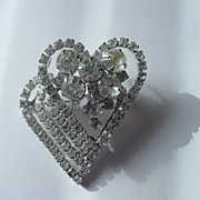 Large Layer Double Heart Rhinestone Pendant Pin