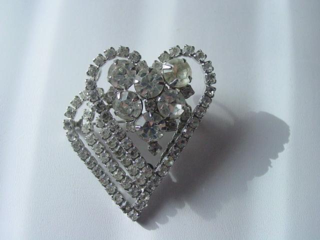 Large Layer Double Heart Rhinestone Pendant Pin