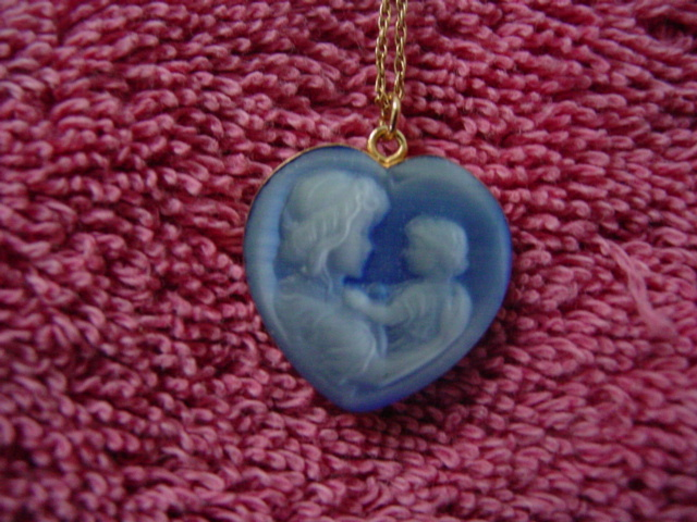 Blue Resin Mother and Child Cameo Necklace 1/20 14KT GF