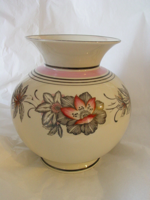 Hertel-Jacob Floral Design Large Porcelain Vase