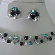Lisner Demi Parure Bracelet and Earrings w Blue Rhinestones