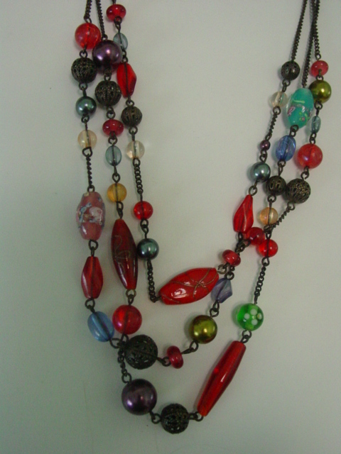 3 Strand Multi Glass Bead Necklace