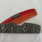 Repousse Comb Case w Village Scene and Comb