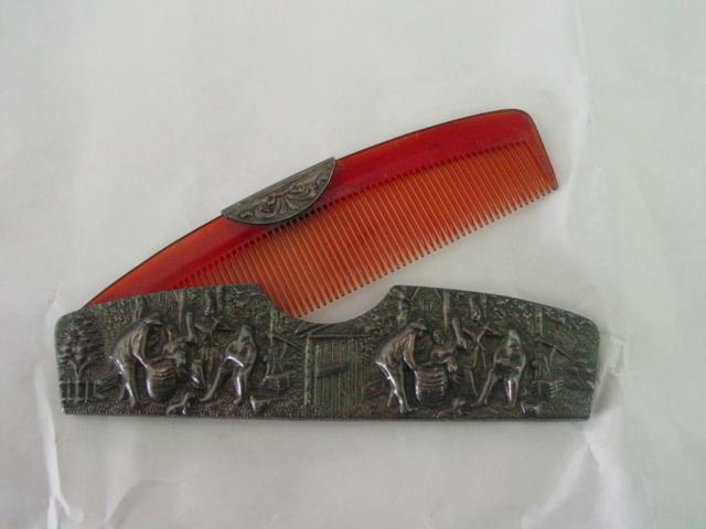 Repousse Comb Case w Village Scene and Comb