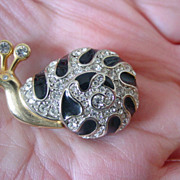 Snail Pin w Black Enamel and Rhinestones