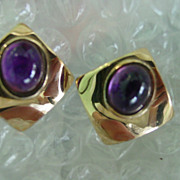 Amethyst Cabochon Earrings Set in Sterling Silver w Vermeil Gold Finish