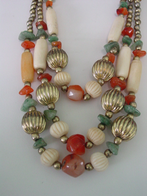 Multi Glass & Quartz Beaded 3 Strand Necklace