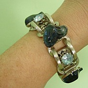 Raised Chunky Blue Odd Shape and Big Rhinestone Bracelet