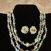 3 Strand Crystal Necklace & Matching Earrings