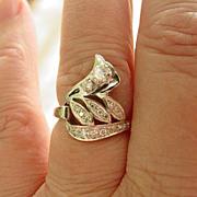 14Kt White Gold Diamond Ring Retro Era Design