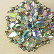 Blue Aurora Borealis Layered Pin Brooch